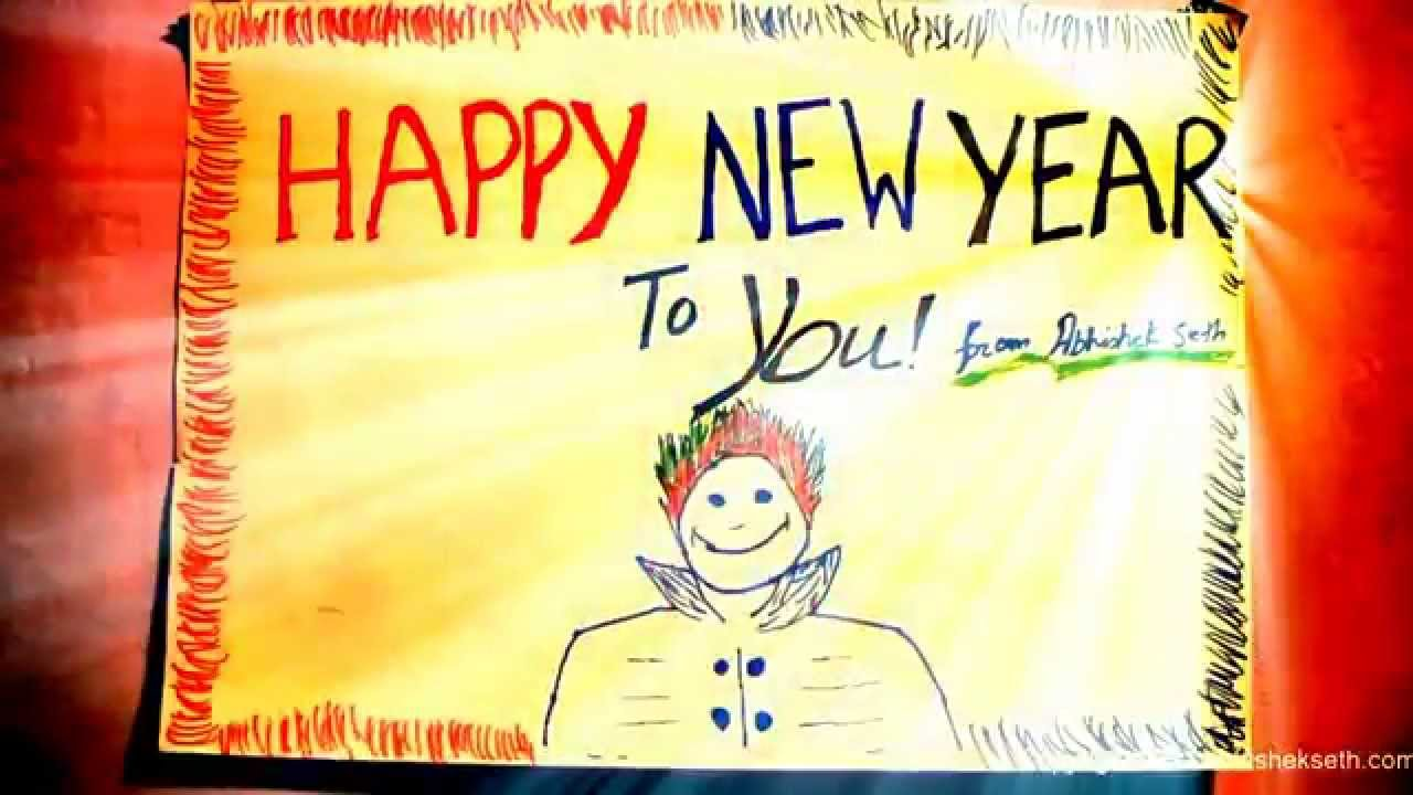 Happy new year card with music